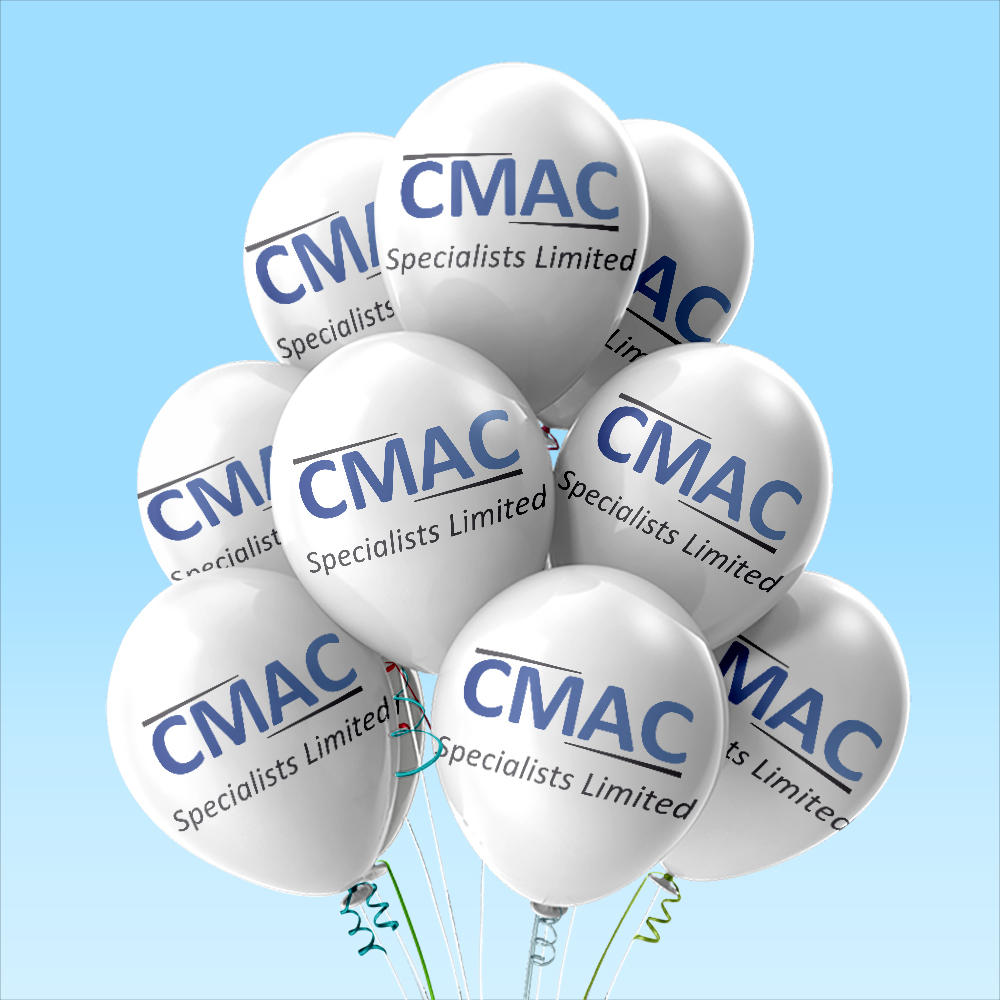 White latex balloons printed with CMAC logo