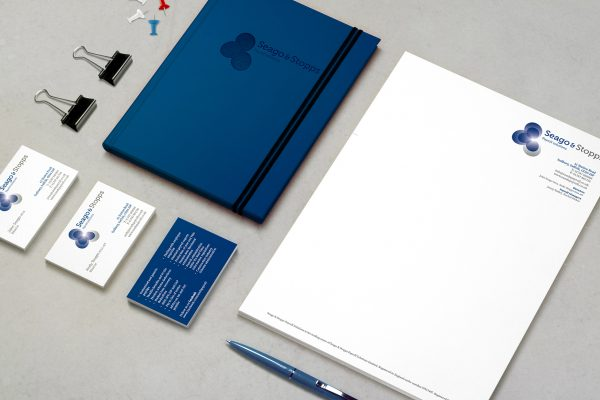 An aerial shot of business stationery