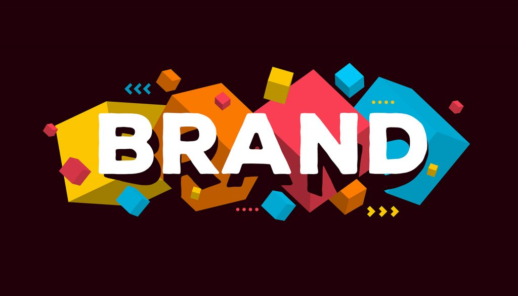 Brand graphic on a black background