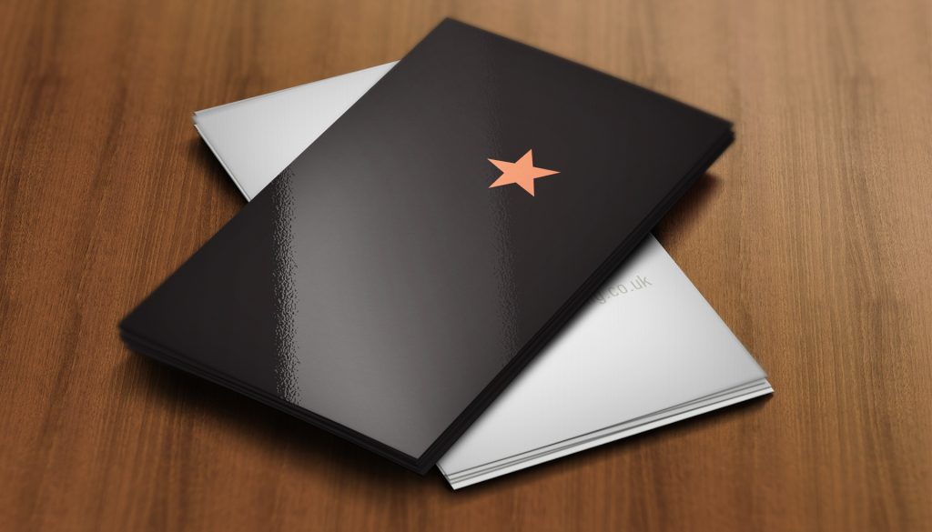 Black business cards with red star