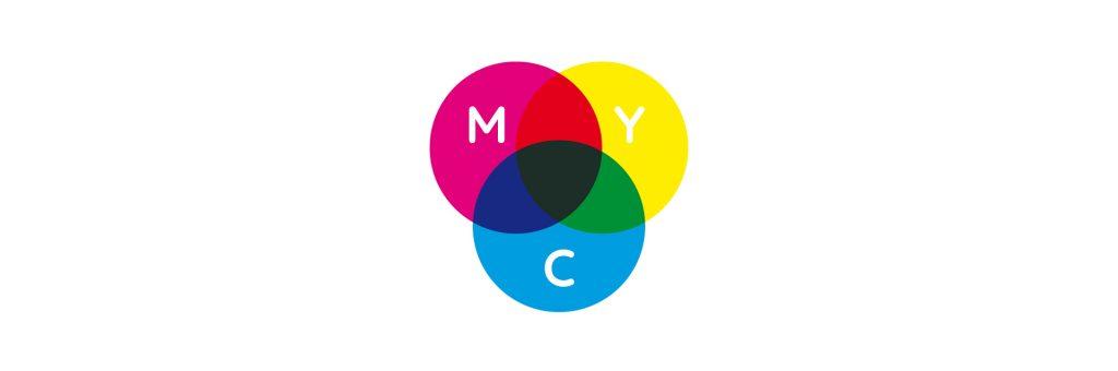 Venn diagram showing how CMY colours merge