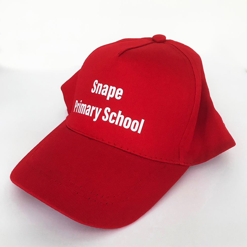 Red printed sports cap for Snape Primary School