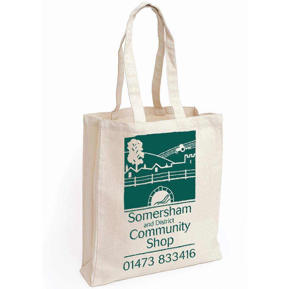 Printed cotton shopper bag for Somersham Community Shop