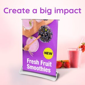 Desktop roller banner with a fresh fruit graphic