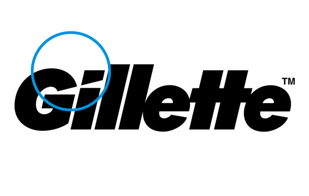 Gillette logo with blue circles as highlights