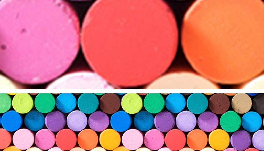 Close up of coloured pastels showing how images pixelate when enlarged