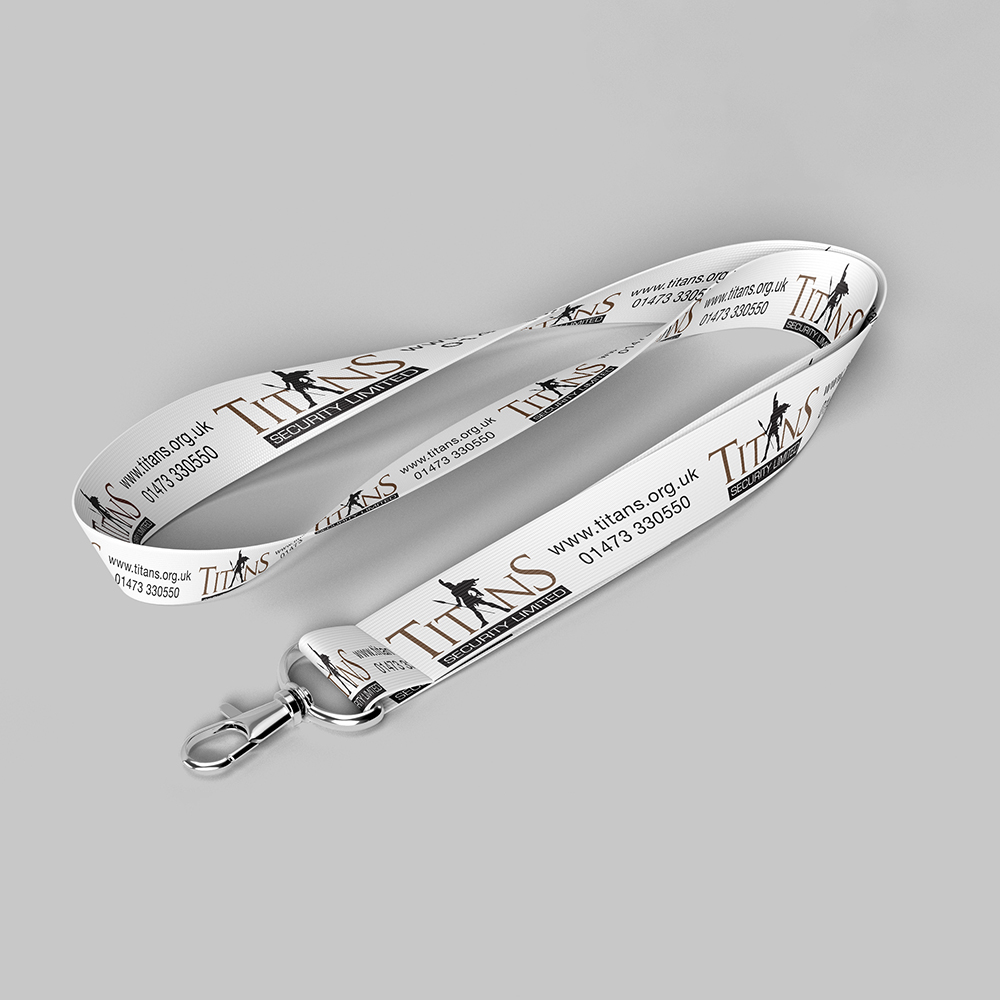 White fabric lanyard for Titans Security