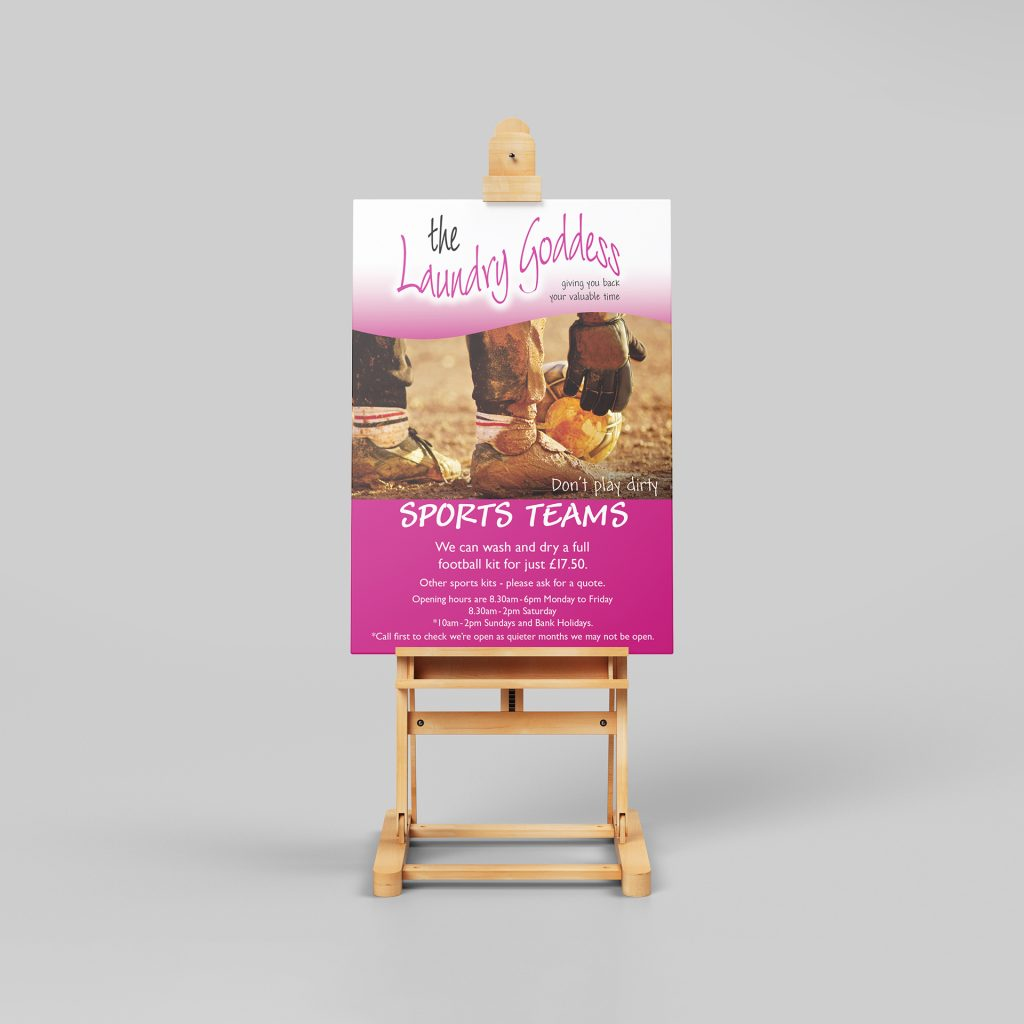 Laundry goddess sports teams poster on a stand