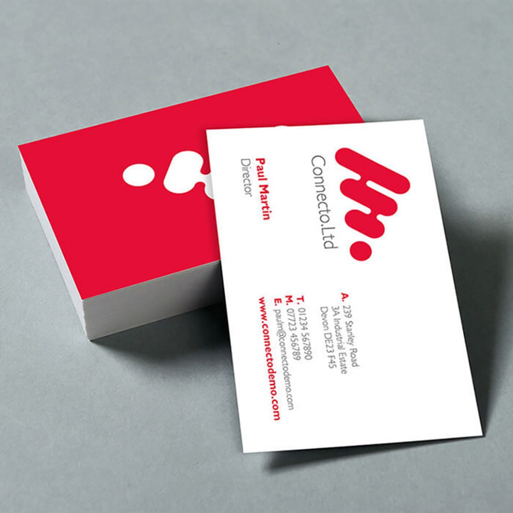 Matt laminated business card showing front and back