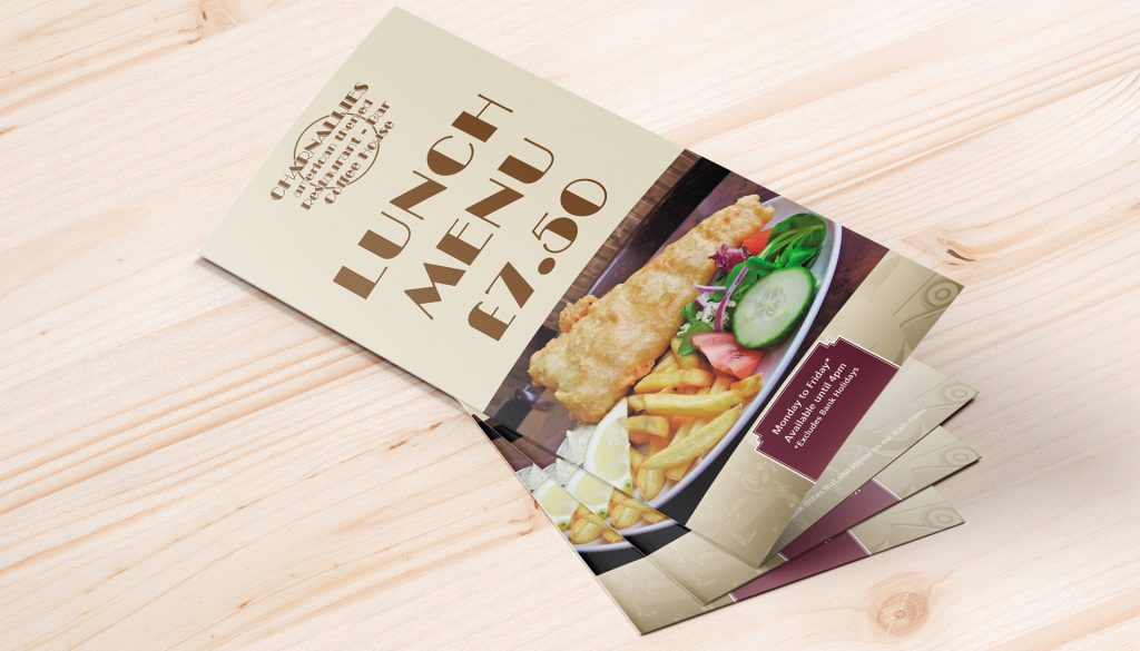 Trifold lunch menu