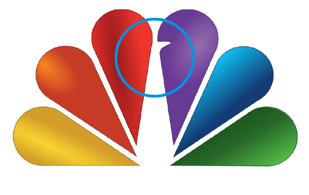 NBC logo with blue circles as highlights