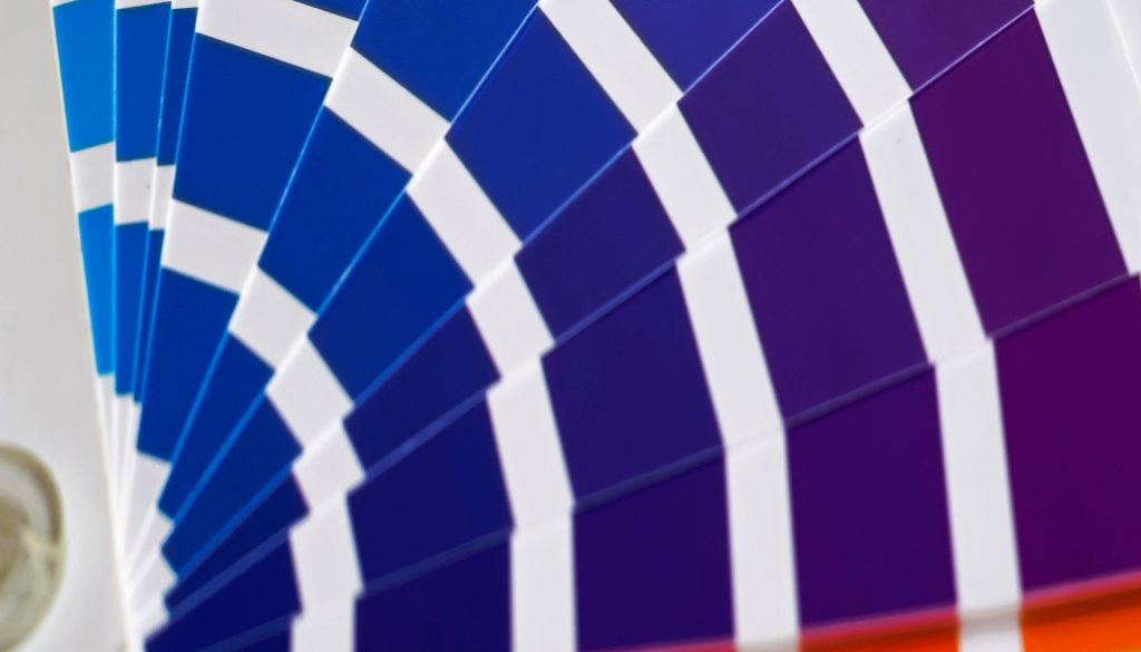 Colour swatch guide showing blue and purple