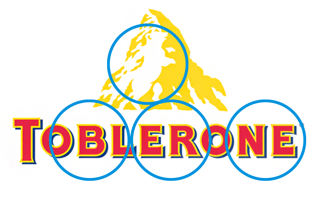 Toblerone logo with blue circles as highlights
