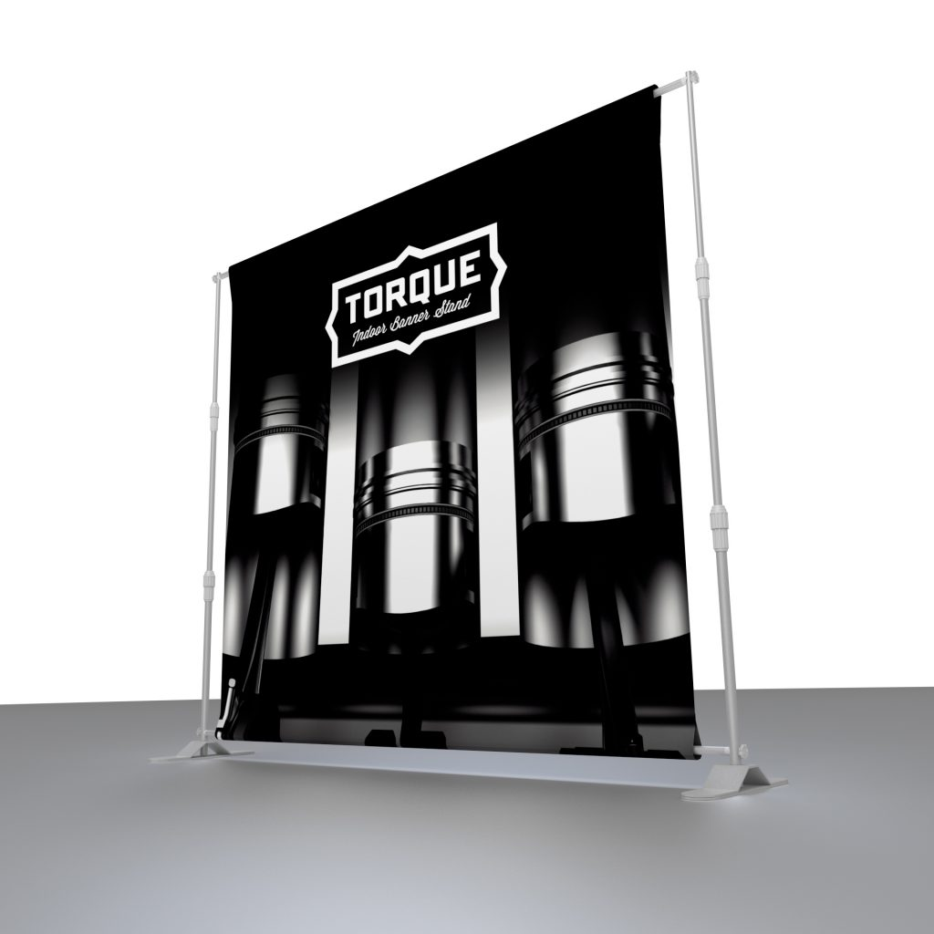 Torque banner stand showing the graphic and the frame