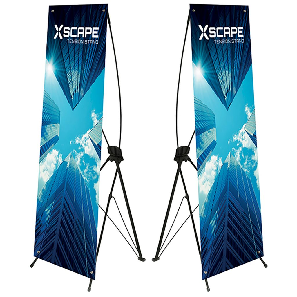 Xscape display showing printed graphic and frame