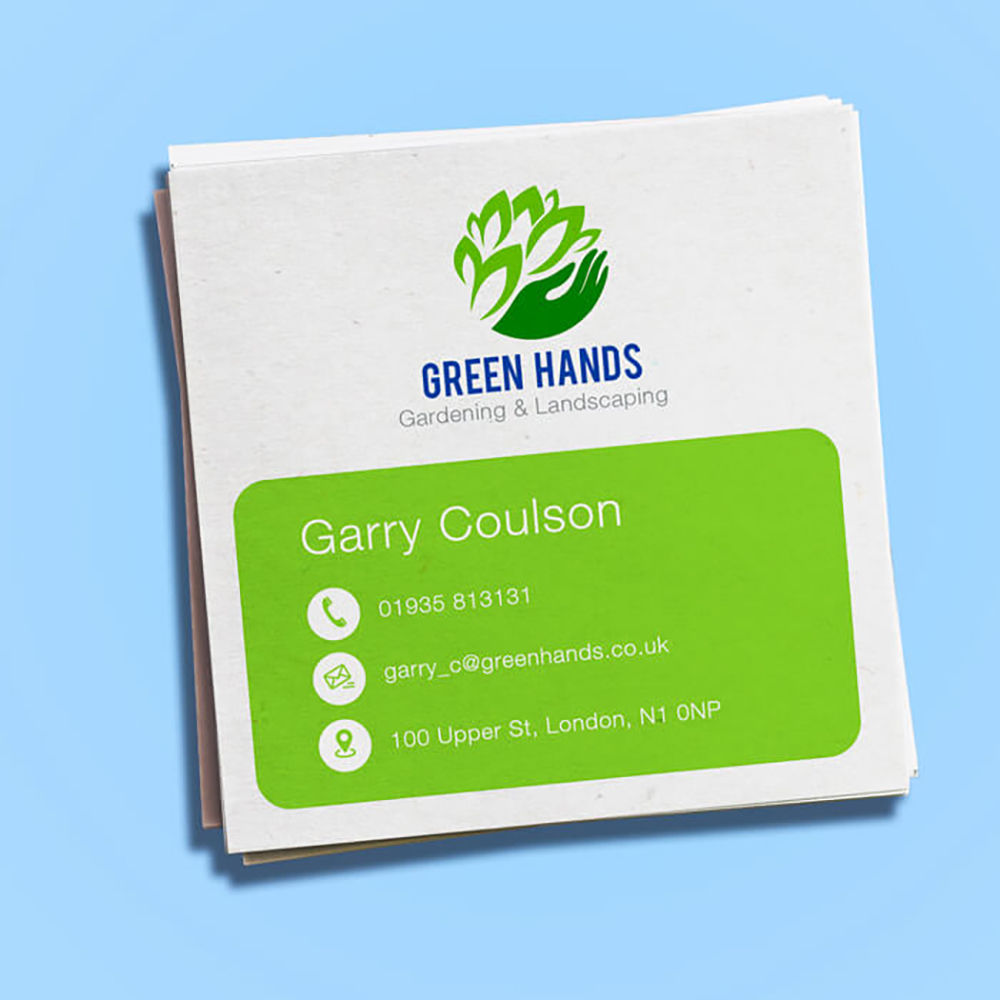 Square recycled business cards