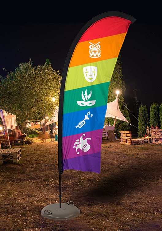Crest, feather and teardrop flags